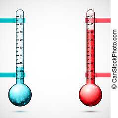 Two thermometers - Two isolated thermometers, eps 10