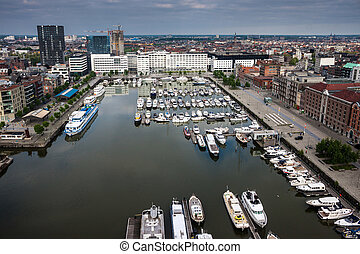 Aerial view of Antwerp, Belgium.
