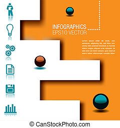 Infographic with spheres, icons and