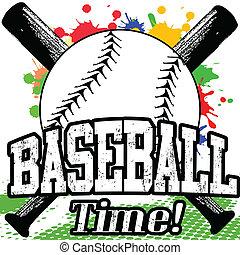 Baseball Time poster - Baseball Time grunge poster on white,...