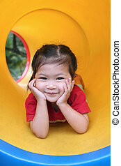 cute girl - Smiling little girl at playground