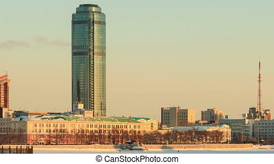 Panorama of the central waterfront Russia, Yekaterinburg