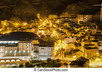 Andorra La Vella village at night where all the lights are...