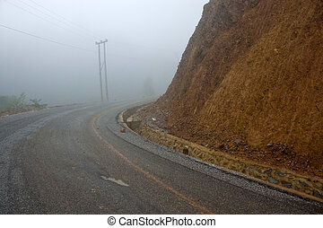 Empty mountain road in Laos