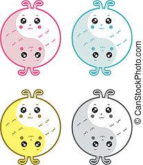 Cute rabbits yin yang