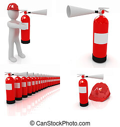 Fire extinguisher set on a white background
