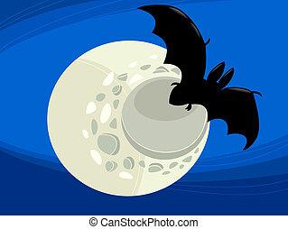 bat at night cartoon illustration