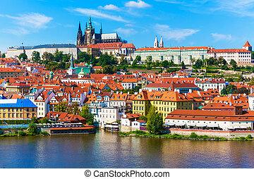paisaje, Praga, checo, república