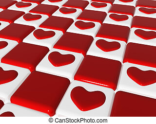 chess love 2, 3d red hearts over chess-board - many 3d red...