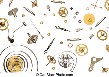 Time do not exist - parts of clock mechanism on pure white...