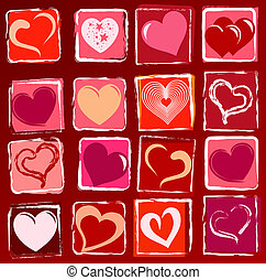 drawn hearts background - many drawn hearts in white, red,...