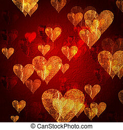 red golden hearts background - red and golden hearts over...