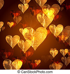 golden hearts background - golden and red hearts over gold...