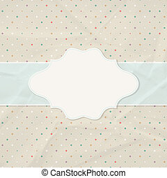 Frame on the background of crumpled paper with polka dots...