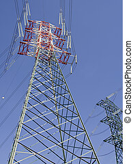 high voltage pylons view from above - colored high voltage...