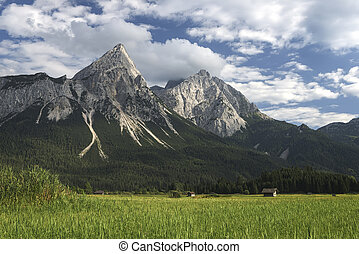 wetterstein mountains in austria with green meadow and...