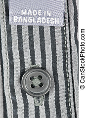 made in banglasdesh - made in bangladesh label on fabric...
