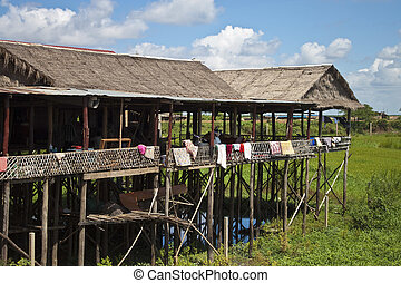House on stilts near the Tonle Sap lake in Siem Reap...