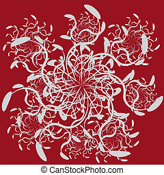 Abstract ornament on red background - Illustration of...