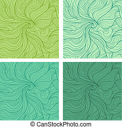 Wavy seamless patterns set - Abstract vector seamless...