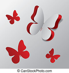 Cut out paper butterfly - White paper with red background...