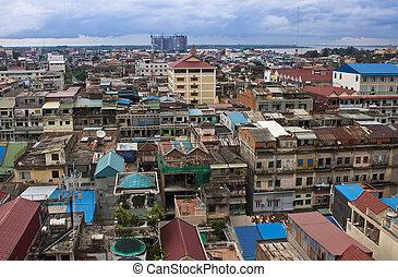 Aerial view of Pnom Penh, Cambodia