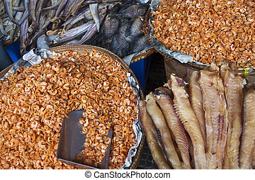 Dryed fish and shrimps on a market in Pnom Penh, Cambodia