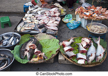 Fish on a street market in Pnom Penh, Cambodia