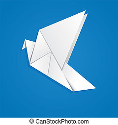 Origami pigeon - White folded paper, origami pigeon on blue...