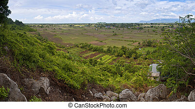 Panorama of rural area in southern Cambodia