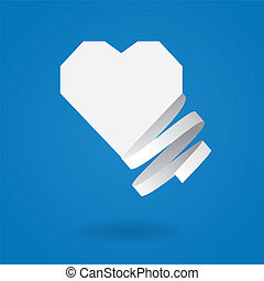 Paper heart with ribbon - White paper heart with ribbon on...