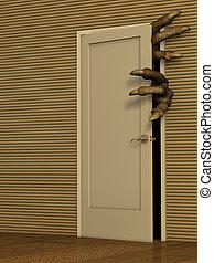 Monster opening a door - Dark series - monster opening a...