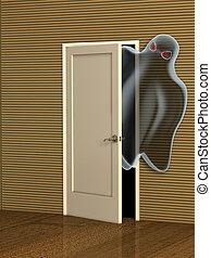 Ghost opening a door