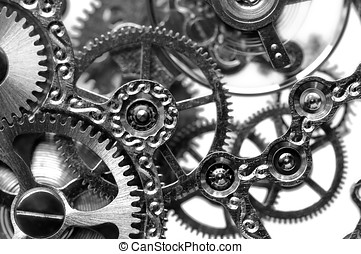 time - black and white close view of watch mechanism