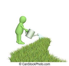 Grass - 3d puppet watering a grass road