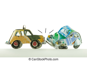 car accident - hand made toys cars having an accident