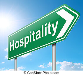 Hospitality concept. - Illustration depicting a sign with a...