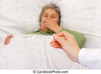 Flu symptoms - Body temperature measurement for monitoring...