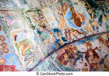 Frescoes in the church of Hagia Sophia in Trabzon, Turkey