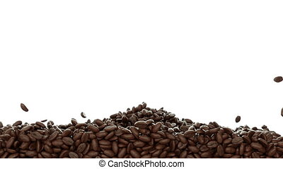 Roasted Coffee beans falling & mix - Roasted Coffee beans...