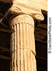 Ancient Greece - Close up of Ionic column of Erechtheion on...