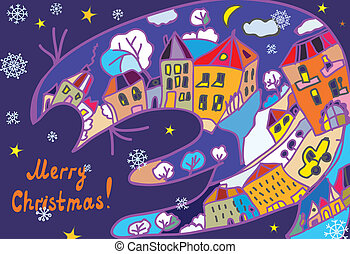 Christmas greeting card with town and cat at the night