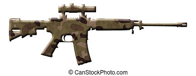 Camouflage Rifle - A rifle in the camouflage colors isolated...