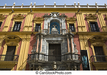 Episcopal palace of Malaga - Front view of Episcopal palace...