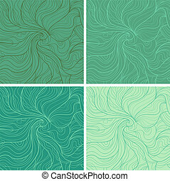 Marine - Abstract vector seamless pattern Fancy wavy doodle...