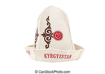Traditional Kyrgyz hat isolated  on white background