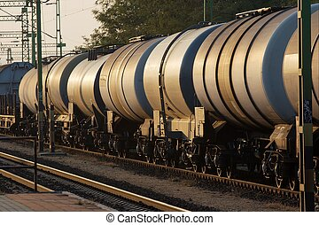Train - Wagons of a freight train transporting oil