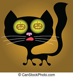 halloween cat - colorful illustration with halloween cat for...