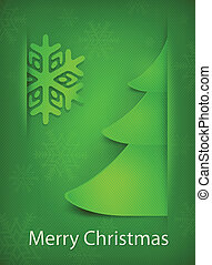 Christmas card, green tree on green