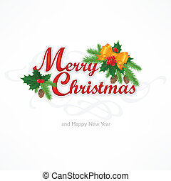 Merry Christmas inscription with branch